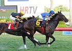 "Summer Front runs down Tetradrachm to win the Fort Lauderdale Stakes.<br><a target=""blank"" href=""http://photos.bloodhorse.com/AtTheRaces-1/At-the-Races-2014/35724761_2vdnSX#!i=3017466186&k=D3vZngt"">Order This Photo</a>"