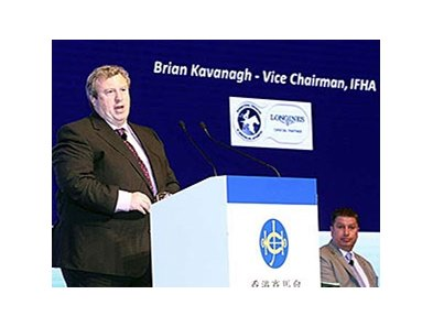 Brian Kavanagh speaks at the Asian Racing Conference in Hong Kong May 6.