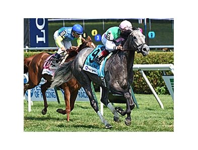 "Filimbi pulls free from pacesetter Dayatthespa to take the Fasig-Tipton De La Rose.<br><a target=""blank"" href=""http://photos.bloodhorse.com/AtTheRaces-1/At-the-Races-2014/i-gVVFCmR"">Order This Photo</a>"