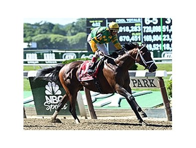 "Palace Malice and John Velazquez take the Met Mile.<br><a target=""blank"" href=""http://photos.bloodhorse.com/AtTheRaces-1/At-the-Races-2014/i-82JCJdL"">Order This Photo</a>"