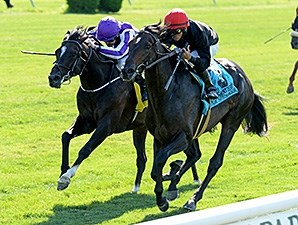 Mr Speaker (right) gets through on the inside to win the Belmont Derby Invitational.