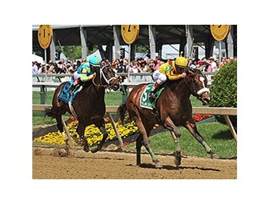"Meadowood rolls home to win the Chick Lang Stakes.<br><a target=""blank"" href=""http://photos.bloodhorse.com/AtTheRaces-1/At-the-Races-2014/i-hMxZBq7"">Order This Photo</a>"