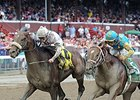 "Big Trouble (left) outfinishes Mr. Z to take the Sanford Stakes.<br><a target=""blank"" href=""http://photos.bloodhorse.com/AtTheRaces-1/At-the-Races-2014/i-B2FW9LR"">Order This Photo</a>"