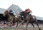 "V. E. Day (left) outfinishes Wicked Strong to win the Travers.<br><a target=""blank"" href=""http://photos.bloodhorse.com/AtTheRaces-1/At-the-Races-2014/i-J6K27PF"">Order This Photo</a>"