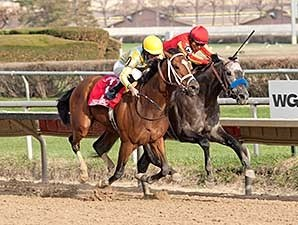 Dynamic Impact (left) got his nose in front of Midnight Hawk at the wire in the Illinois Derby.
