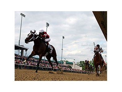 "113,071 saw Untapable win the 2014 Kentucky Oaks.<br><a target=""blank"" href=""http://photos.bloodhorse.com/AtTheRaces-1/At-the-Races-2014/i-DjHdsZx"">Order This Photo</a>"