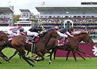Move In Time wins the Prix de l'Abbaye de Longchamp.