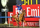 "Silvestre De Sousa celebrates victory aboard African Story in the Dubai World Cup.<br><a target=""blank"" href=""http://photos.bloodhorse.com/AtTheRaces-1/Dubai-2014/38085033_tQgx4h#!i=3148897471&k=dhBcNZh"">Order This Photo</a>"