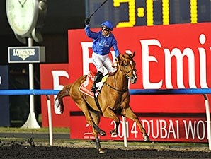 Silvestre De Sousa celebrates victory aboard African Story in the Dubai World Cup.