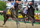 "Stopchargingmaria (left) gets by Vero Amore to win the Black-Eyed Susan Stakes. <br><a target=""blank"" href=""http://photos.bloodhorse.com/AtTheRaces-1/At-the-Races-2014/i-nJDNchV"">Order This Photo</a>"