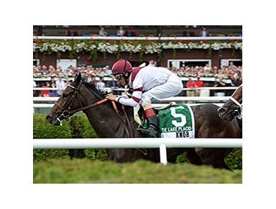 "Crown Queen and jockey John Velazquez take the Lake Placid.<br><a target=""blank"" href=""http://photos.bloodhorse.com/AtTheRaces-1/At-the-Races-2014/i-FCdLV3d"">Order This Photo</a>"