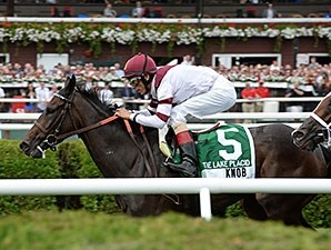 Crown Queen and jockey John Velazquez take the Lake Placid.