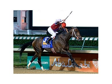 "Moonshine Mullin comes home a winner in the Stephen Foster Handicap.<br><a target=""blank"" href=""http://photos.bloodhorse.com/AtTheRaces-1/At-the-Races-2014/i-dSxfLRL"">Order This Photo</a>"