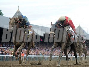 Wicked Strong and V. E. Day in the Travers Stakes.