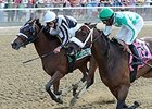 "Hot Stones gets by Merry Meadow late to win the Bed o' Roses Handicap.<br><a target=""blank"" href=""http://photos.bloodhorse.com/AtTheRaces-1/At-the-Races-2014/i-L8zCMdD"">Order This Photo</a>"