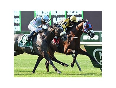 "Hangover Kid comes up the inside to win the Bowling Green over Grandeur.<br><a target=""blank"" href=""http://photos.bloodhorse.com/AtTheRaces-1/At-the-Races-2014/i-Jd59mkr"">Order This Photo</a>"