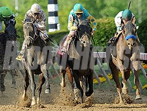 Revolutionary (left) comes from way back to win the Pimlico Special.