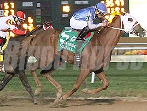 East Hall gets by Vicar's in Trouble to take the Indiana Derby.