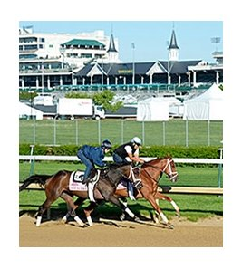 "Got Lucky and My Miss Sophia worked at Churchill Downs on April 26, 2014. <br><a target=""blank""http://photos.bloodhorse.com/TripleCrown/2014-Triple-Crown/Kentucky-Derby-Workouts/i-wWSZzjq"">Order This Photo</a>"