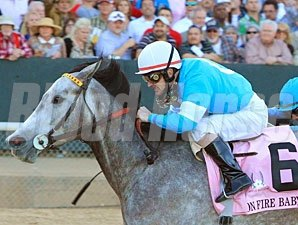 On Fire Baby finished 2nd in the 2013 La Troienne Stakes.