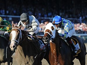 Will Take Charge (left) and Moreno finished a nose apart in the 2013 Travers.