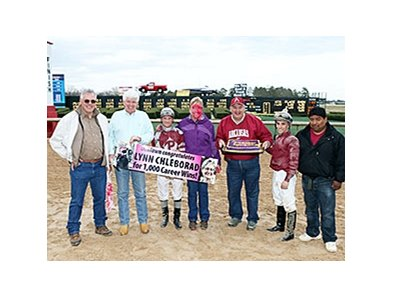 Trainer Lynn Chleborad celebrates win number 1,000.