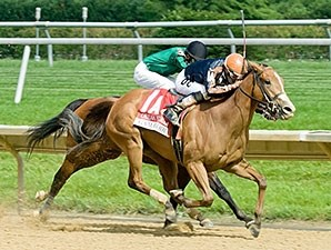 Gamay Noir flies late to win the Obeah Stakes at Delaware Park.