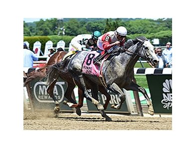 "Norumbega came from off the pace to take the Brooklyn Invitational Stakes.<br><a target=""blank"" href=""http://photos.bloodhorse.com/AtTheRaces-1/At-the-Races-2014/i-rnxxZP9"">Order This Photo</a>"