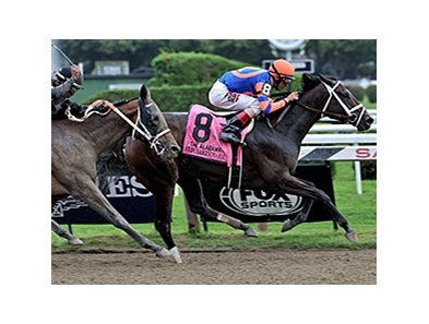 Stopchargingmaria is in control in the Alabama Stakes.