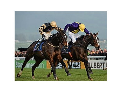 Lord Windermere (right) outfinishes On His Own to win the Cheltenham Gold Cup.