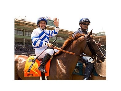 Victor Espinoza returns to racing at Santa Anita Park.