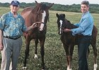 Catesby Clay (left) with son Brutus Clay with Avaricity and her Hat Trick foal.