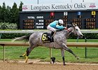 "On Fire Baby won the La Troienne Stakes on May 2.<br><a target=""blank"" href=""http://photos.bloodhorse.com/AtTheRaces-1/At-the-Races-2014/i-pt6Zk3r"">Order This Photo</a>"