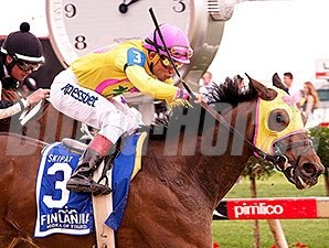Lion D N A and Joel Rosario take the Skipat at Pimlico.