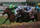 Nistle's Crunch with Robby Albarado (green cap) wins a tight finish in the Commonwealth Turf at Churchill Downs Nov. 9.