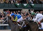 "Monba and Cowboy Cal, shown finishing 1-2 in the Blue Grass, worked at Keeneland on April 26.<br><a target=""blank"" href=""http://www.bloodhorse.com/horse-racing/photo-store?ref=http%3A%2F%2Fpictopia.com%2Fperl%2Fgal%3Fprovider_id%3D368%26ptp_photo_id%3D4155539%26ref%3Dstory"">Order This Photo</a>"