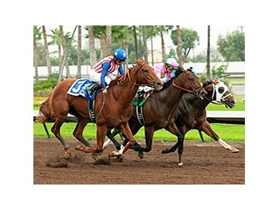 Dortmund, outside, beats Firing line, center, in the Los Alamitos Futurity.