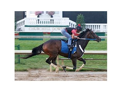 Rachel Alexandra worked five furlongs in 1:03 over a track labeled sloppy June 28 at Churchill Downs.