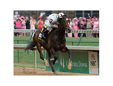 "Kentucky Oaks winner Rachel Alexandra is still being considered for the May 16 Preakness. <br><a target=""blank"" href=""http://www.bloodhorse.com/horse-racing/photo-store?ref=http%3A%2F%2Fgallery.pictopia.com%2Fbloodhorse%2Fgallery%2FS672162%2Fphoto%2F8062329%2F%3Fo%3D0"">Order This Photo</a>"