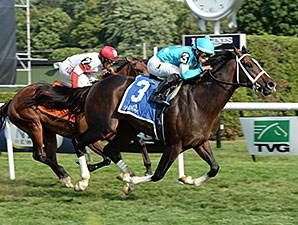 Wallyanna wins the 2014 National Museum of Racing Hall of Fame Stakes.