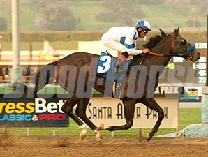 Twirling Candy wins the 2011 Strub.