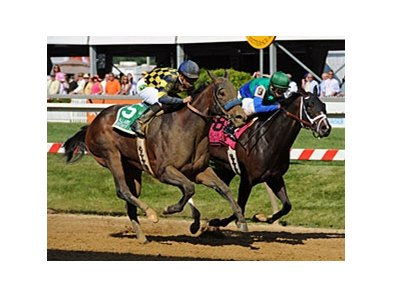 "Awesomemundo (left) goes by Love and Pride to win the $100,000 Allaire DuPont Distaff Stakes.<br><a target=""blank"" href=""http://photos.bloodhorse.com/AtTheRaces-1/at-the-races-2012/22274956_jFd5jM#!i=1855728702&k=VrmjnGK"">Order This Photo</a>"