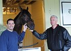 Caption: Mike Repole with Stay Thirsty (left) and Uncle Mo at Belmont Park