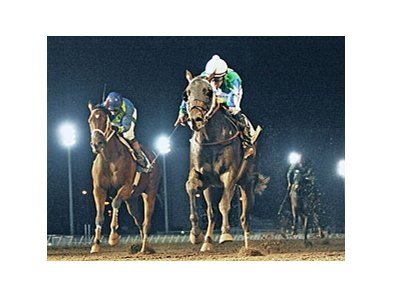 Gentlemen's Bet (right) defeated Delaunay in the Iowa Sprint Handicap.