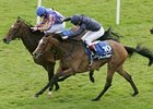 Moonstone (#10) outlasts stablemate Ice Queen to capture the Darley Irish Oaks (Ire-I) July 13 at the Curragh.