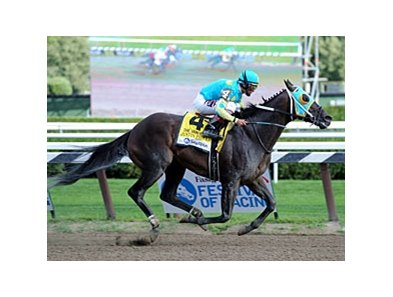Justin Phillip winning the Alfred G. Vanderbilt.
