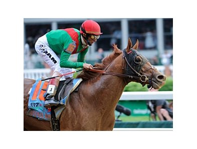"2011 Kentucky Derby winner Animal Kingdom<br><a target=""blank"" href=""http://www.bloodhorse.com/horse-racing/photo-store?ref=http%3A%2F%2Fpictopia.com%2Fperl%2Fgal%3Fprovider_id%3D368%26ptp_photo_id%3D9517789%26ref%3Dstory"">Order This Photo</a>"
