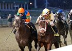 Uncaptured fights off Frac Daddy to win the Kentucky Jockey Club Stakes.