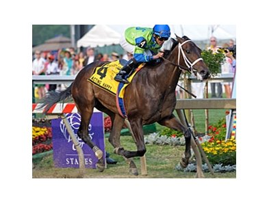 "Acting Happy put away favored Tidal Pool to win the Black-Eyed Susan Stakes at Pimlico. <br><a target=""blank"" href=""http://www.bloodhorse.com/horse-racing/photo-store?ref=http%3A%2F%2Fpictopia.com%2Fperl%2Fgal%3Fprovider_id%3D368%26ptp_photo_id%3D8958531%26ref%3Dstory"">Order This Photo</a>"