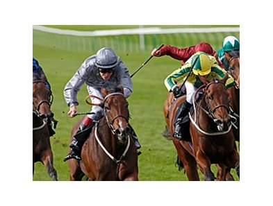 Rosdhu Queen (left) stays unbeated in the Jaguar Cars Cheveley Park Stakes.